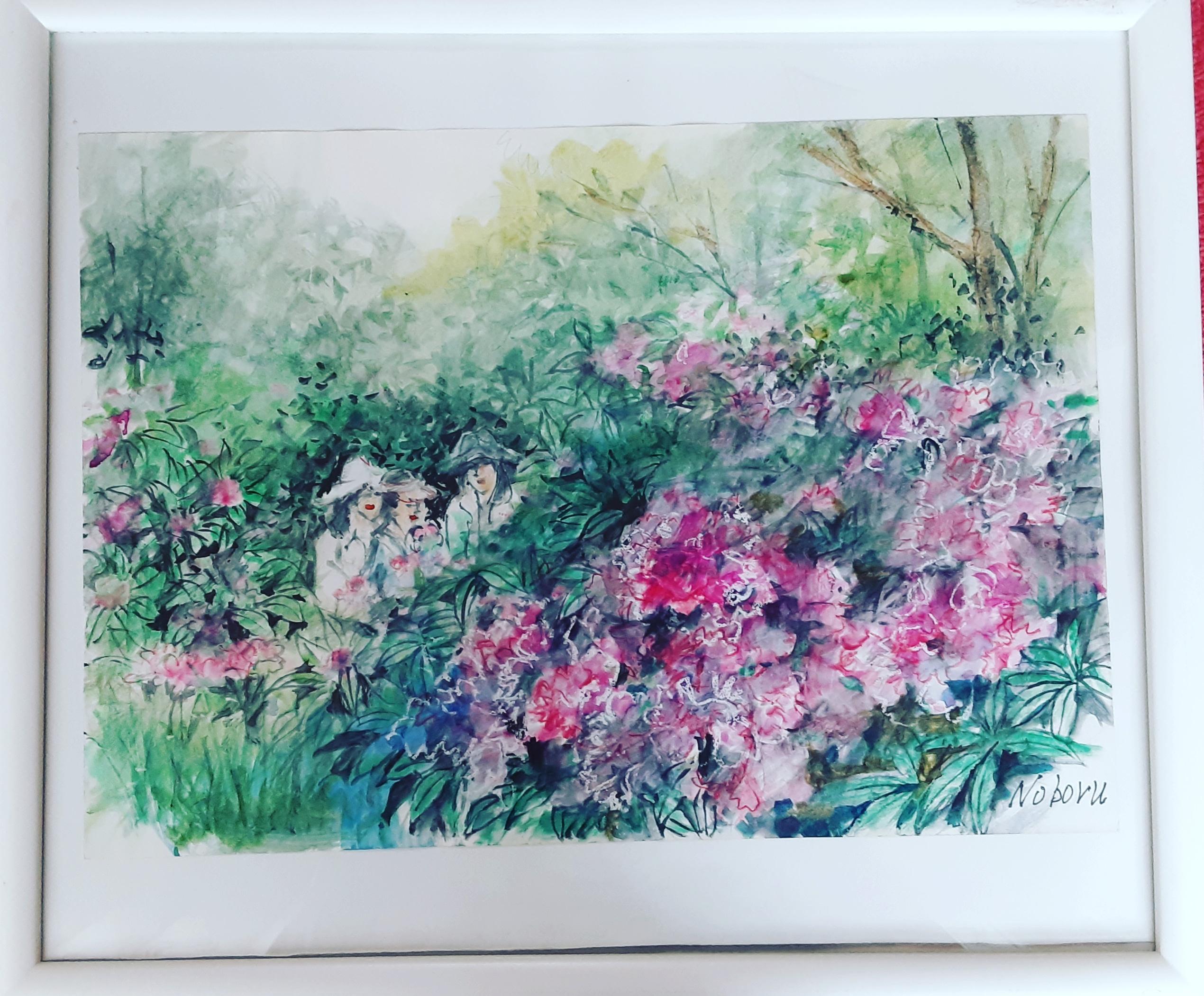 石楠花(シャクナゲ)は今年も綺麗に咲いているでしょうか?去年の絵が完成しました🎶