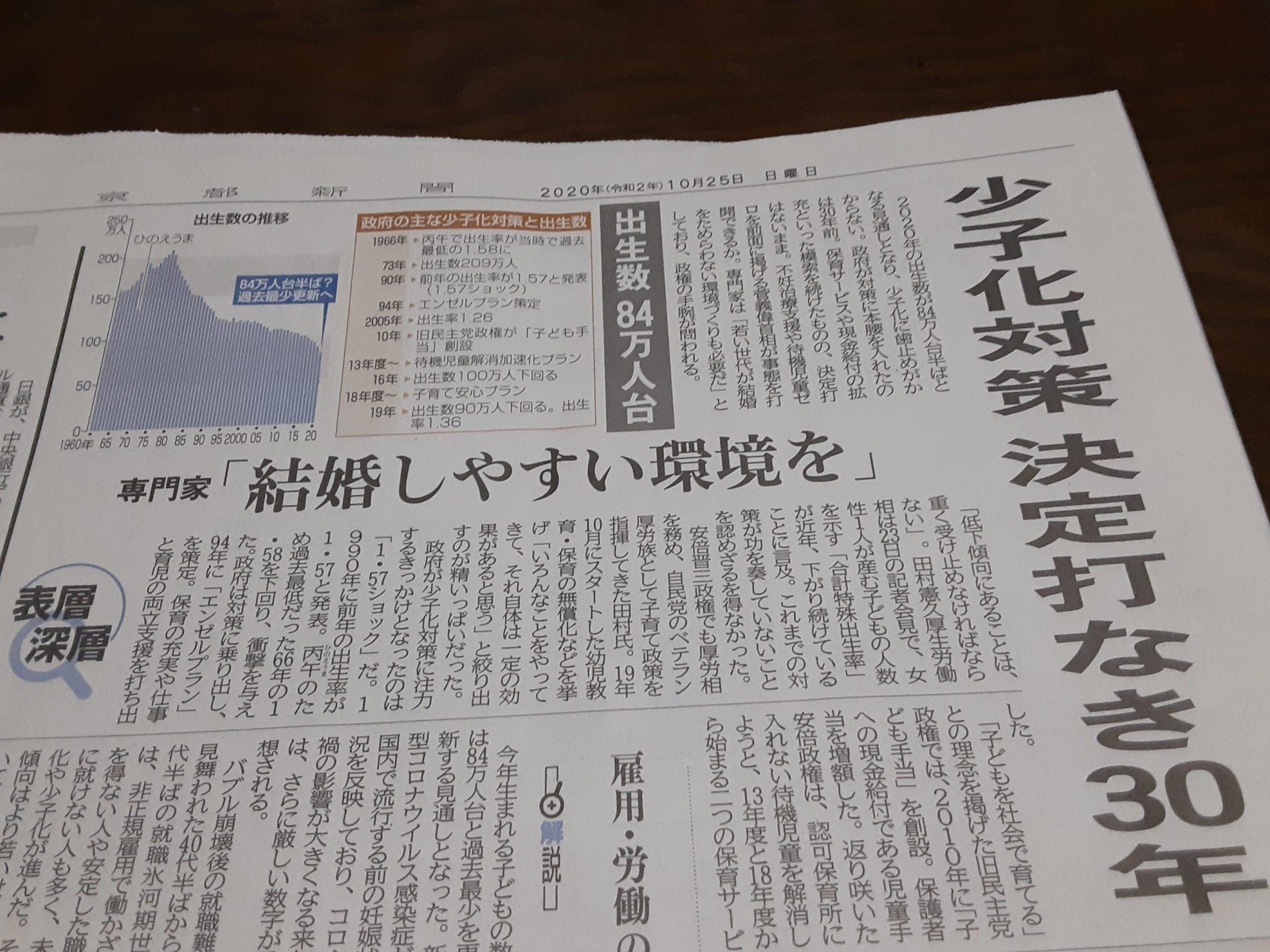 今朝の京都新聞には「日本の少子化の主因は未婚化だ❗」の記事内容がありました‼️